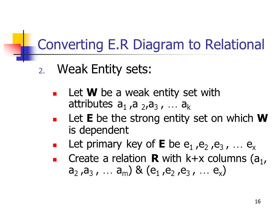 16 Converting E.R Diagram to Relational 2.