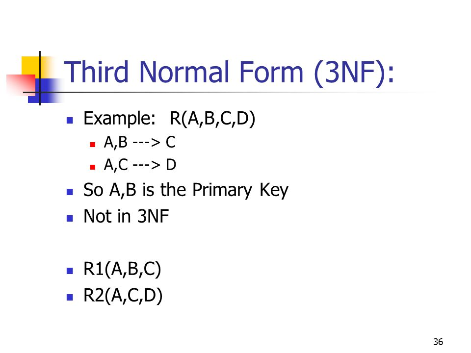 36 Third Normal Form (3NF): Example: R(A,B,C,D) A,B ---> C A,C ---> D So A,B is the Primary Key Not in 3NF R1(A,B,C) R2(A,C,D)