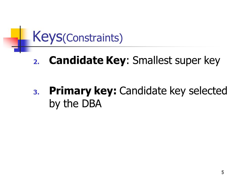 5 Keys (Constraints) 2. Candidate Key: Smallest super key 3.