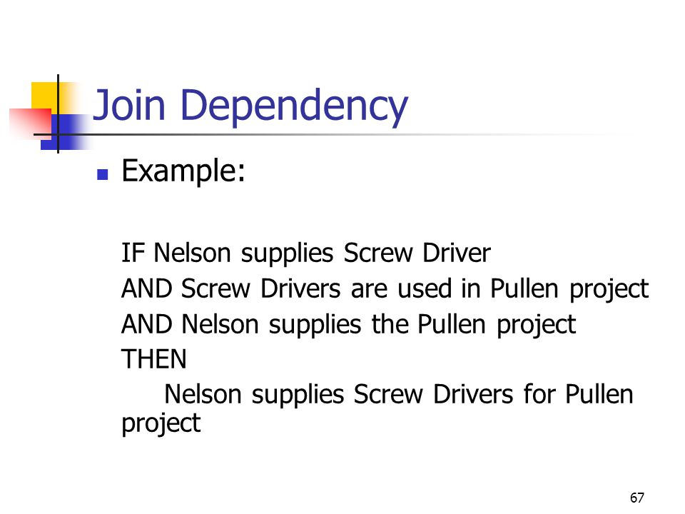 67 Join Dependency Example: IF Nelson supplies Screw Driver AND Screw Drivers are used in Pullen project AND Nelson supplies the Pullen project THEN Nelson supplies Screw Drivers for Pullen project