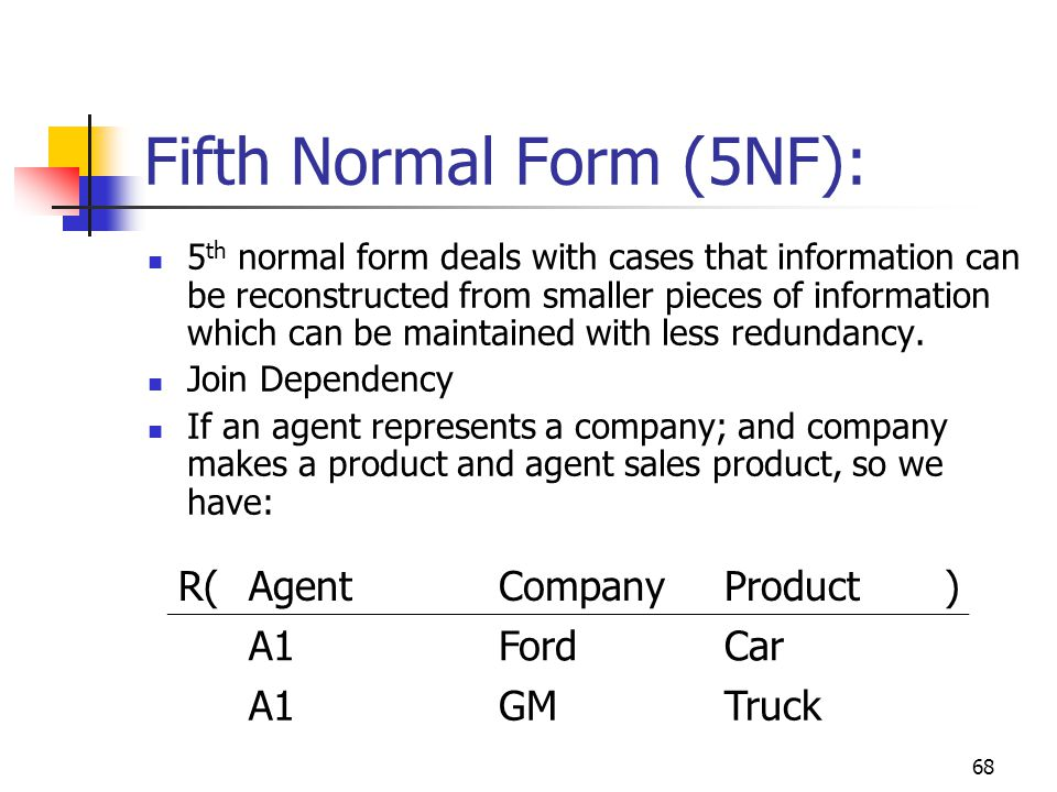 68 Fifth Normal Form (5NF): 5 th normal form deals with cases that information can be reconstructed from smaller pieces of information which can be maintained with less redundancy.