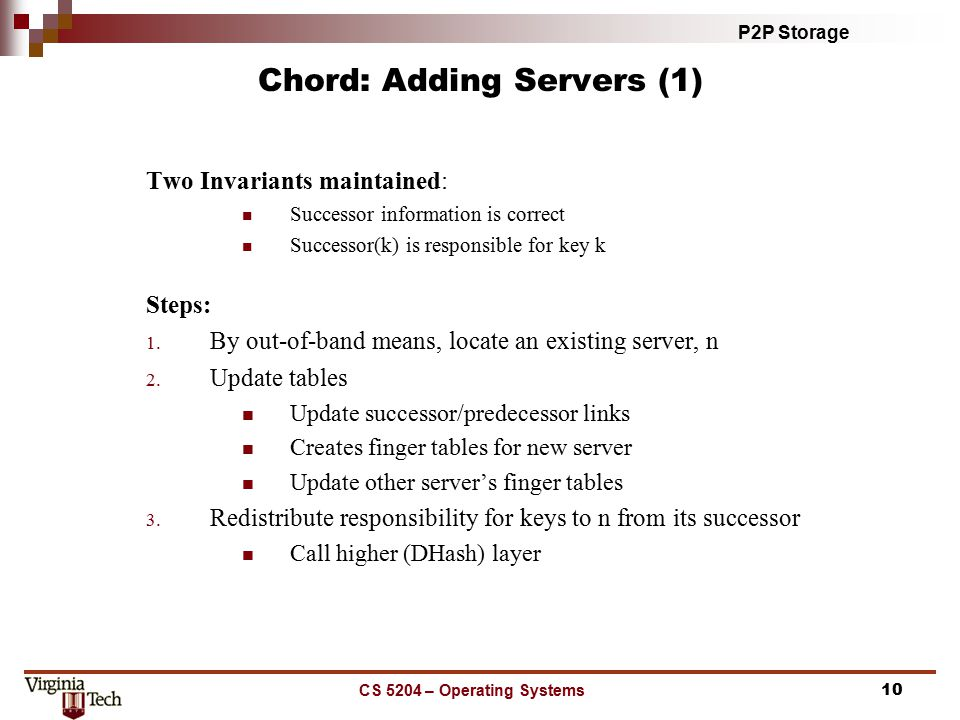 P2P Storage CS 5204 – Operating Systems10 Chord: Adding Servers (1) Two Invariants maintained: Successor information is correct Successor(k) is responsible for key k Steps: 1.