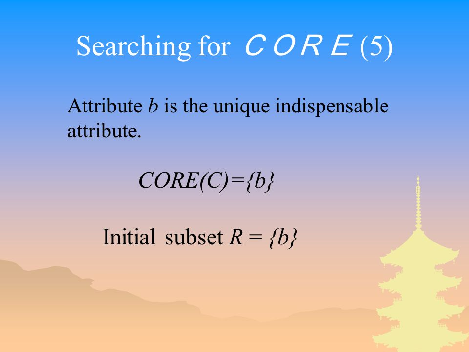 Searching for CORE (5) CORE(C)={b} Initial subset R = {b} Attribute b is the unique indispensable attribute.