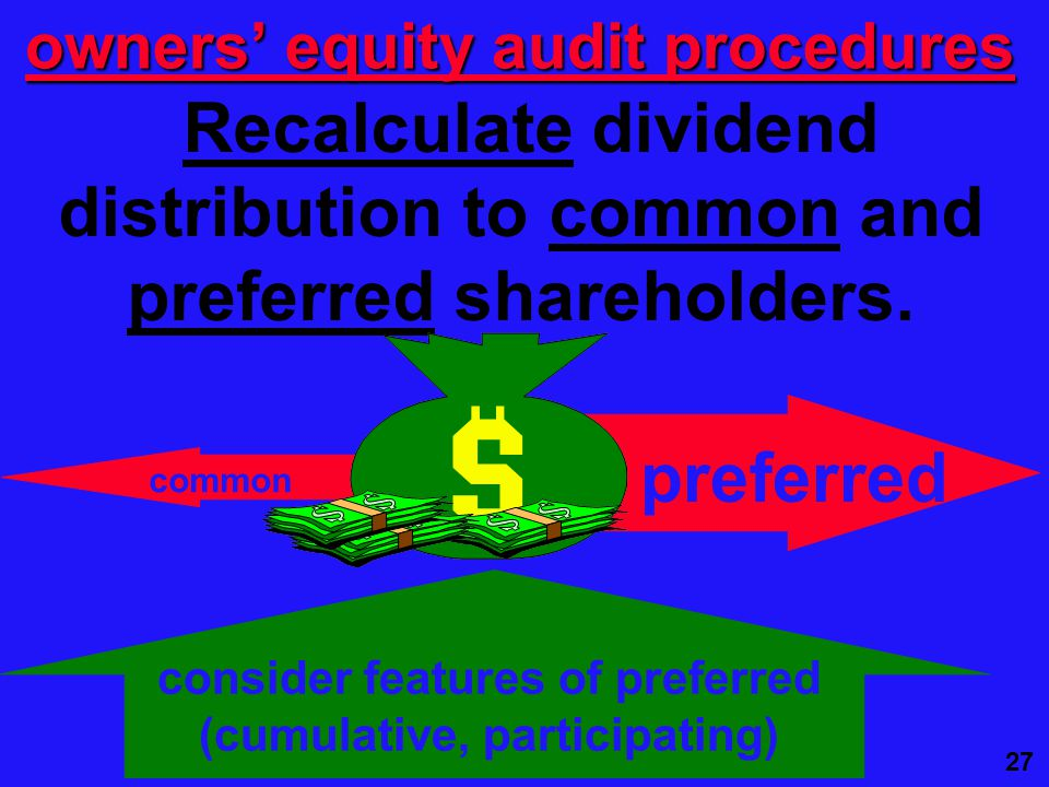 27 Recalculate dividend distribution to common and preferred shareholders.