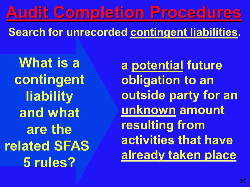 31 Audit Completion Procedures Search for unrecorded contingent liabilities.
