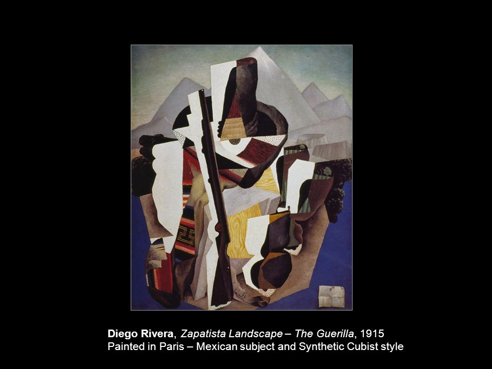 Diego Rivera, Zapatista Landscape – The Guerilla, 1915 Painted in Paris – Mexican subject and Synthetic Cubist style