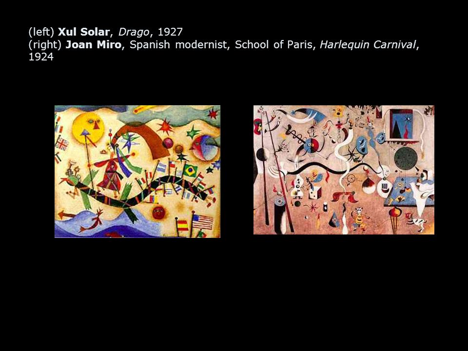 (left) Xul Solar, Drago, 1927 (right) Joan Miro, Spanish modernist, School of Paris, Harlequin Carnival, 1924
