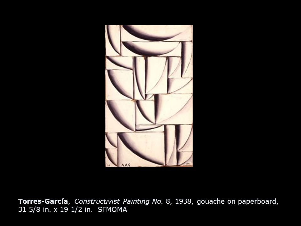 Torres-García, Constructivist Painting No. 8, 1938, gouache on paperboard, 31 5/8 in.
