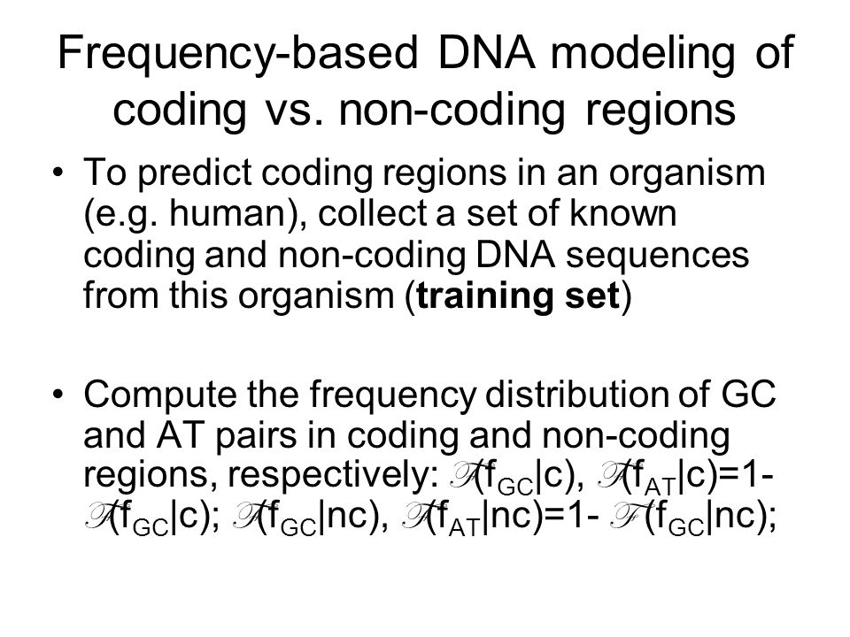 Frequency-based DNA modeling of coding vs.