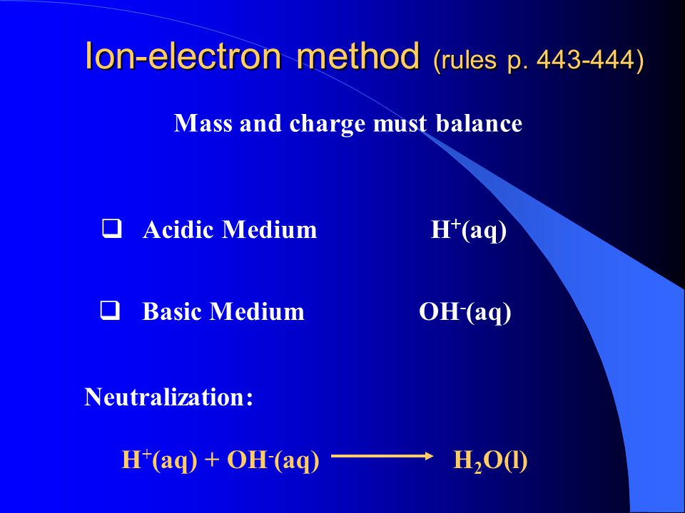 Oxidation number method KMnO 4 + HCl + H 2 S KCl + MnCl 2 + S + H 2 O Reduction Oxidation Oxidation: Reduction: Mn +7 +5e- Mn +2 S -2 S 0 + 2e- x 5 2Mn S -2 2Mn S x 2 2Mn S e-2Mn S0+ 5 S0 + 10e-