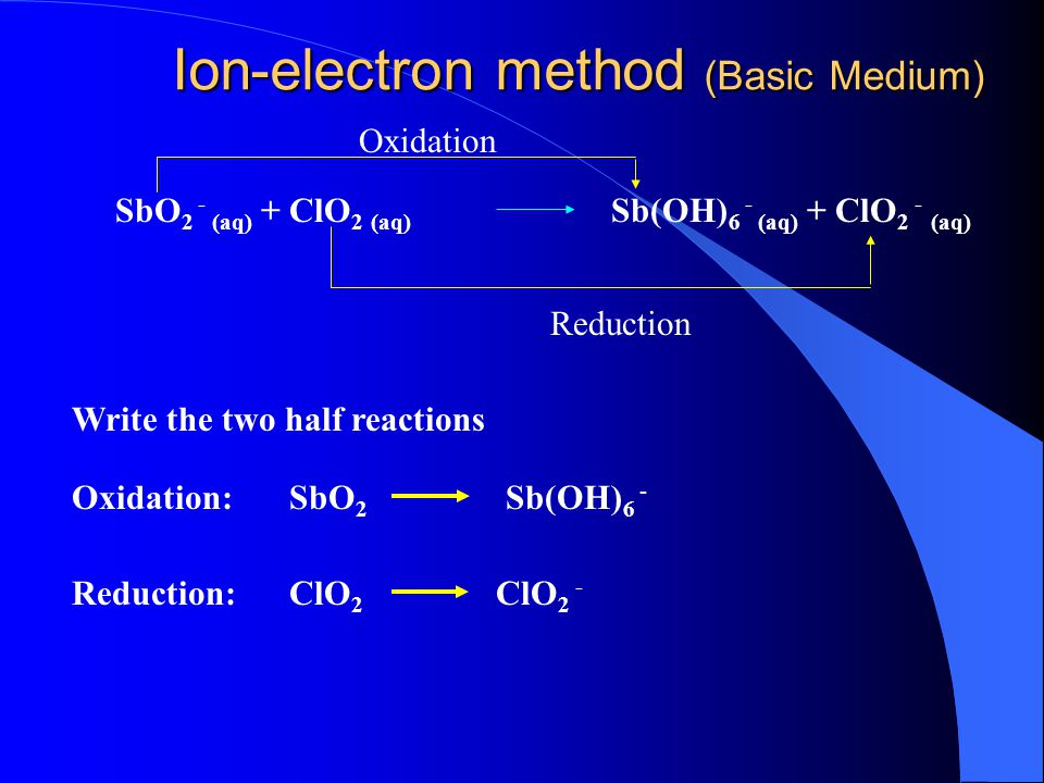 Oxidation: Reduction: x 2 Write the two half reactions Balance elements other than O and H Balance O and H, acidic medium: + 8H + + 4H 2 O Balance each half reaction electrically with electrons: MnO 4 - Mn +2 x 5S -2 S 0 + 5e- + 2e- Equalize loss and gain of e- Add the half equations 2MnO H + +5 S -2 2Mn S 0 + 8H 2 O