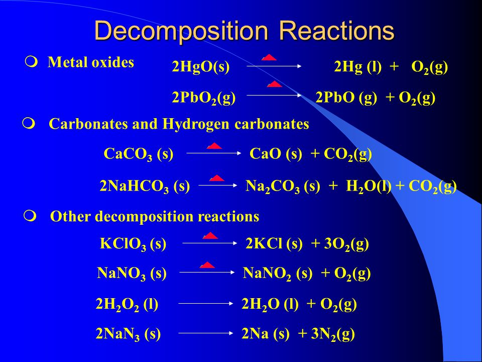 Combination Reactions 2Mg(s) + O 2 (g) 2MgO(s) m metal + Oxygen metal oxide m nonmetal + Oxygen non metal oxide 2S (s) + 3O 2 (g) 2SO 3 (g) m metal + nonmetal Salt 2Na (s) + Cl 2 (g) 2NaCl(s) m metal oxide + water Metal Hydroxide m nonmetal oxide + water Oxy-acid MgO (s) + H 2 O(l) Mg(OH) 2 (s) SO 3 (g) + H 2 O(g) H 2 SO 4 (s)