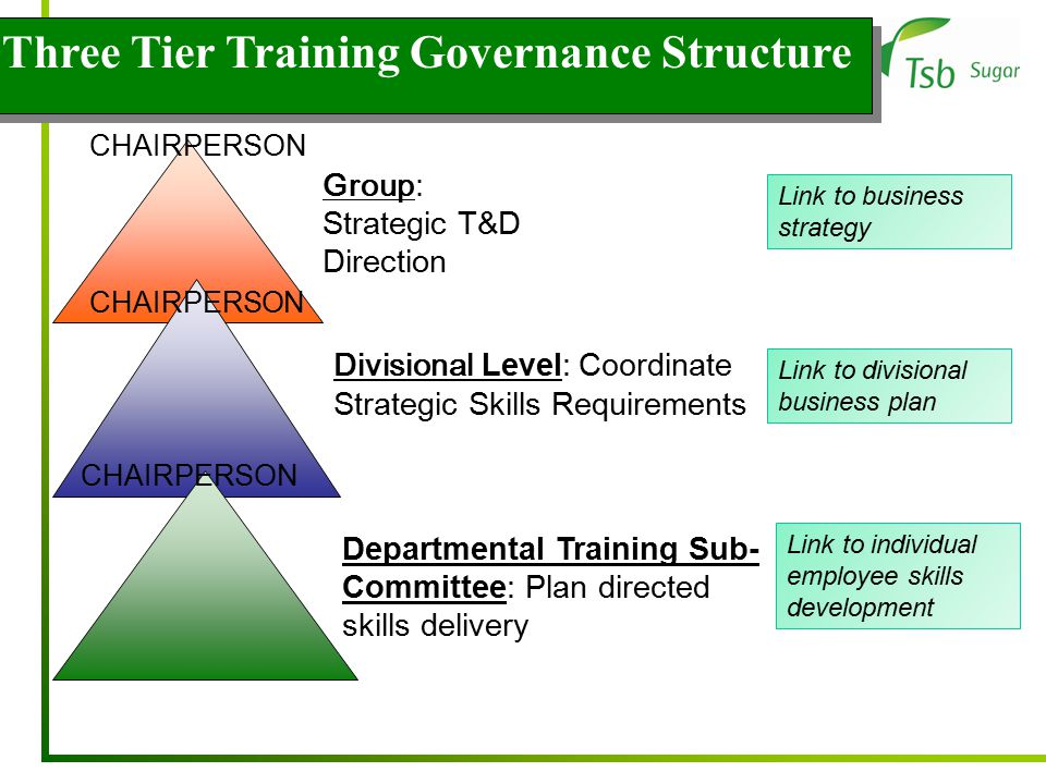Three Tier Training Governance Structure CHAIRPERSON Group: Strategic T&D Direction Departmental Training Sub- Committee: Plan directed skills delivery Divisional Level: Coordinate Strategic Skills Requirements Link to business strategy Link to divisional business plan Link to individual employee skills development