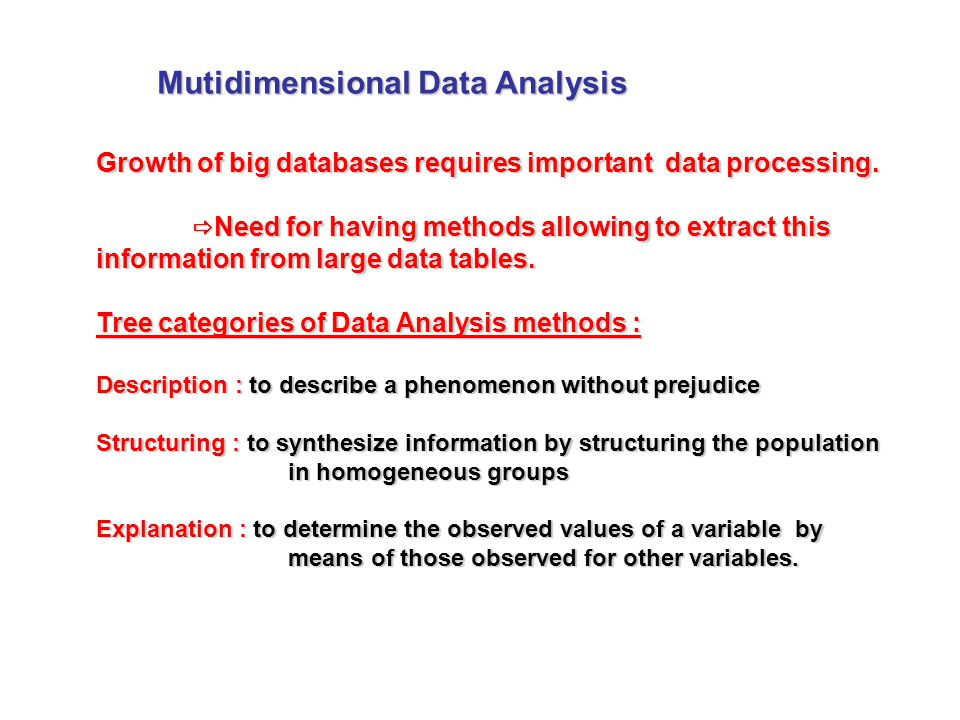 Mutidimensional Data Analysis Growth of big databases requires important data processing.
