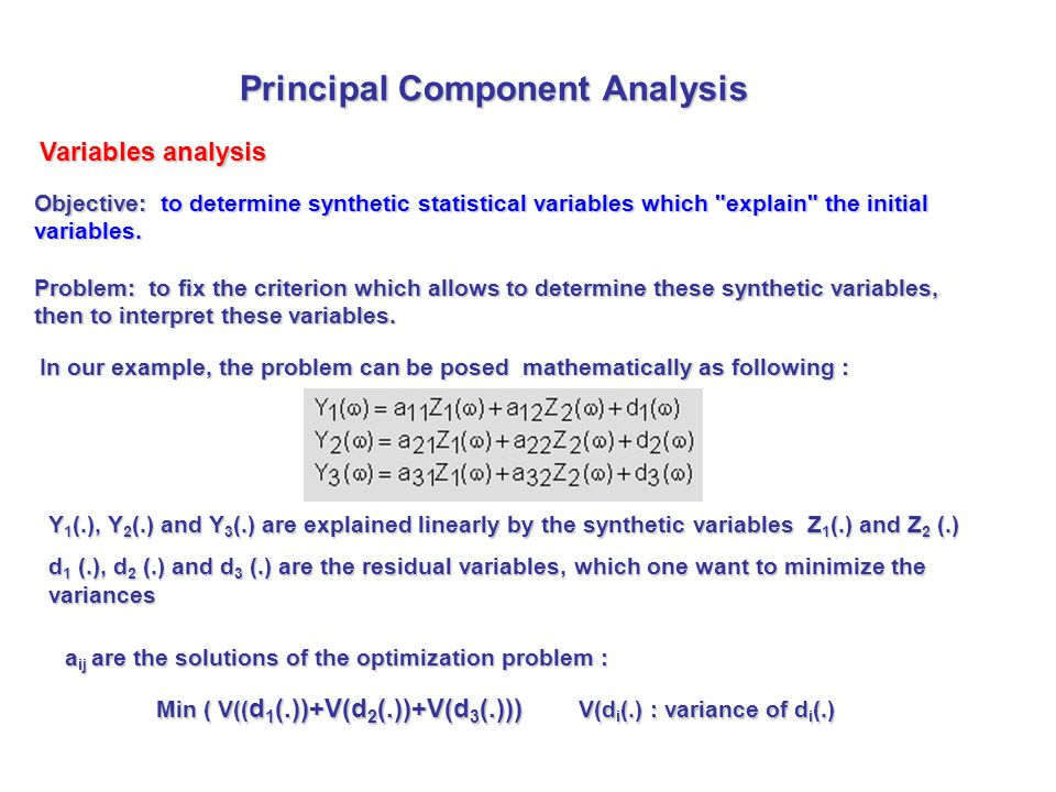 Objective: to determine synthetic statistical variables which explain the initial variables.