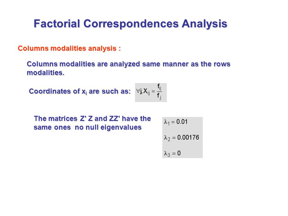 Columns modalities analysis : Columns modalities are analyzed same manner as the rows modalities.