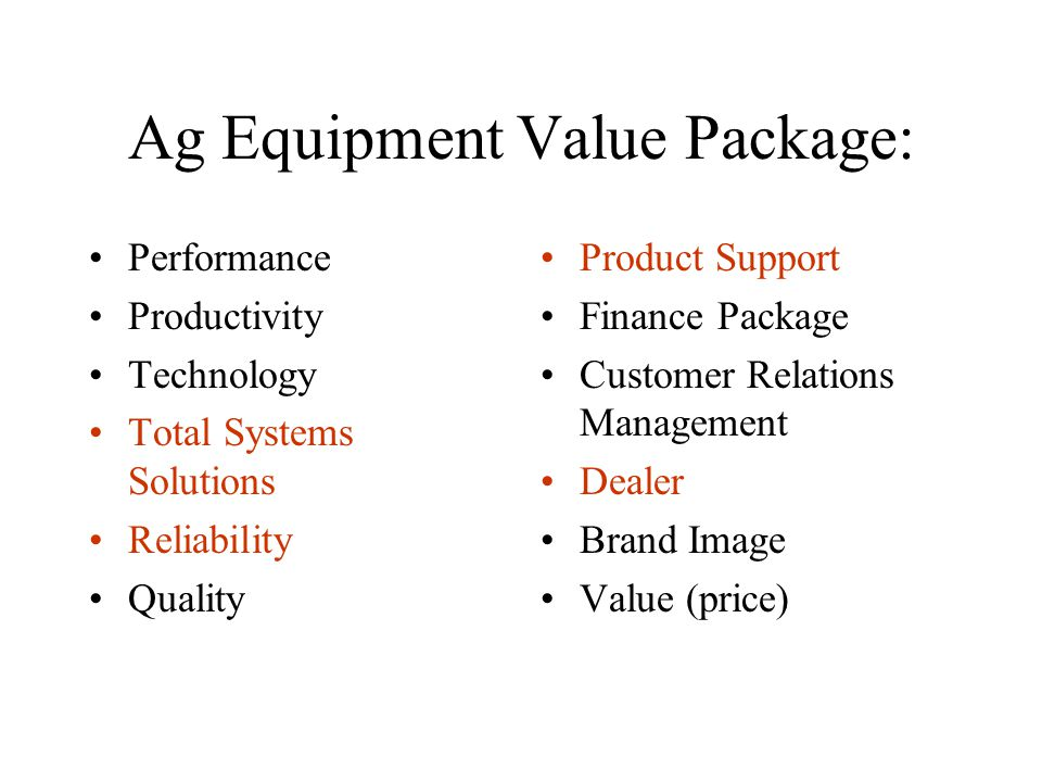Ag Equipment Value Package: Performance Productivity Technology Total Systems Solutions Reliability Quality Product Support Finance Package Customer Relations Management Dealer Brand Image Value (price)