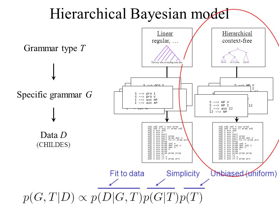 Grammar type T Hierarchical Bayesian model Specific grammar G Data D (CHILDES) Linear regular, … Hierarchical context-free SimplicityFit to dataUnbiased (uniform)