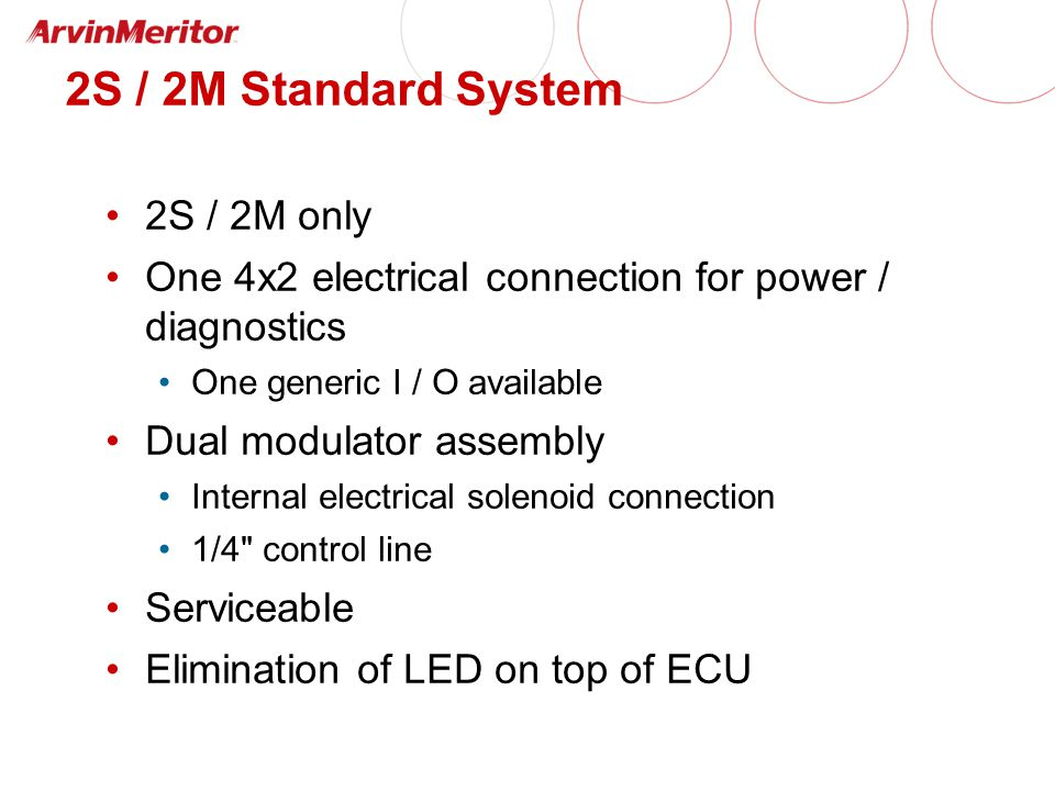2S / 2M Standard System 2S / 2M only One 4x2 electrical connection for power / diagnostics One generic I / O available Dual modulator assembly Internal electrical solenoid connection 1/4 control line Serviceable Elimination of LED on top of ECU