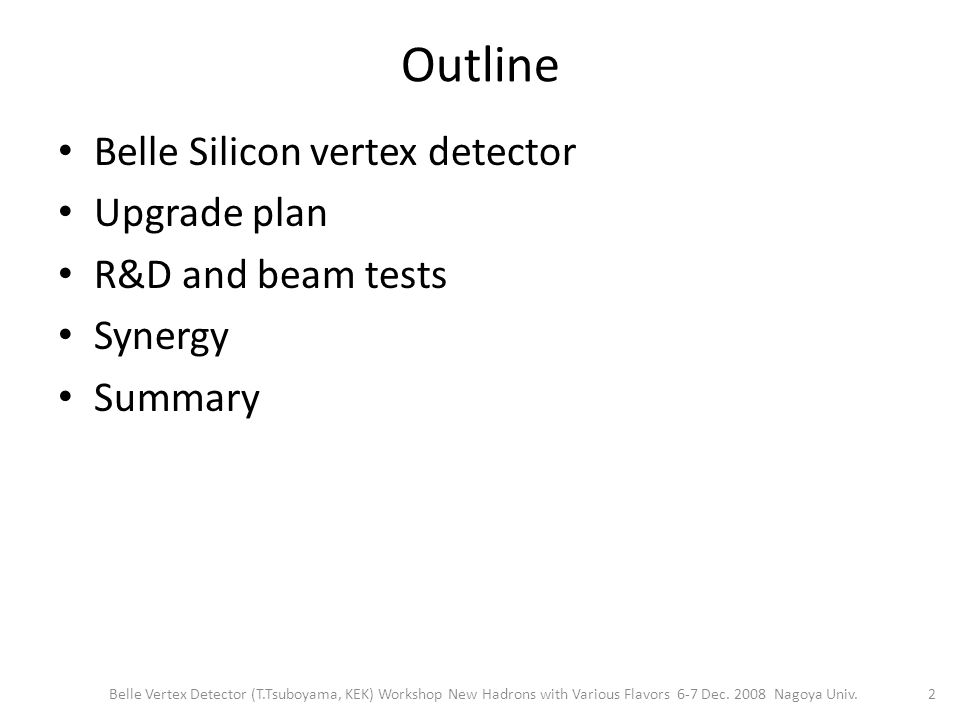 Outline Belle Silicon vertex detector Upgrade plan R&D and beam tests Synergy Summary 2 Belle Vertex Detector (T.Tsuboyama, KEK) Workshop New Hadrons with Various Flavors 6-7 Dec.