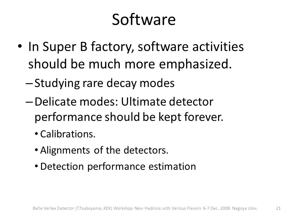 Software In Super B factory, software activities should be much more emphasized.