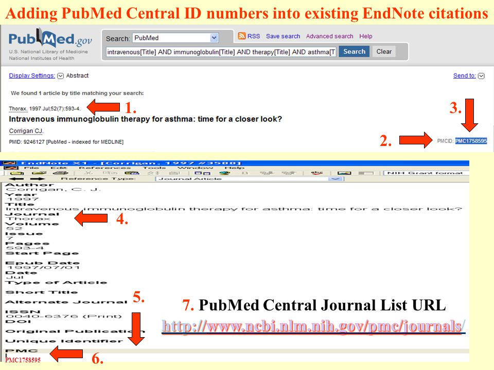 Adding PubMed Central ID numbers into existing EndNote citations 1.