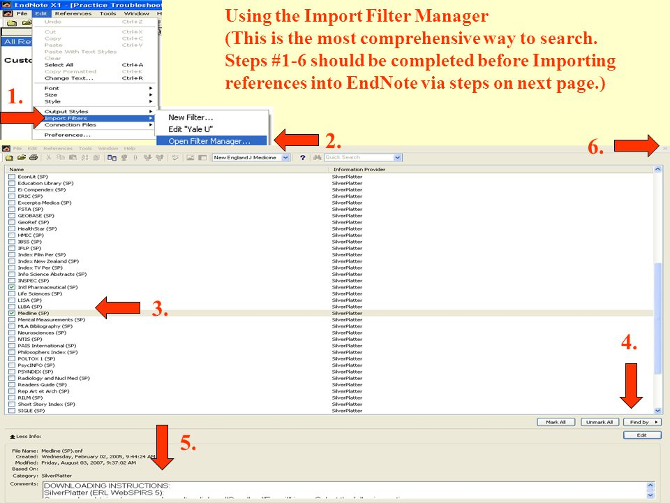 Using the Import Filter Manager (This is the most comprehensive way to search.