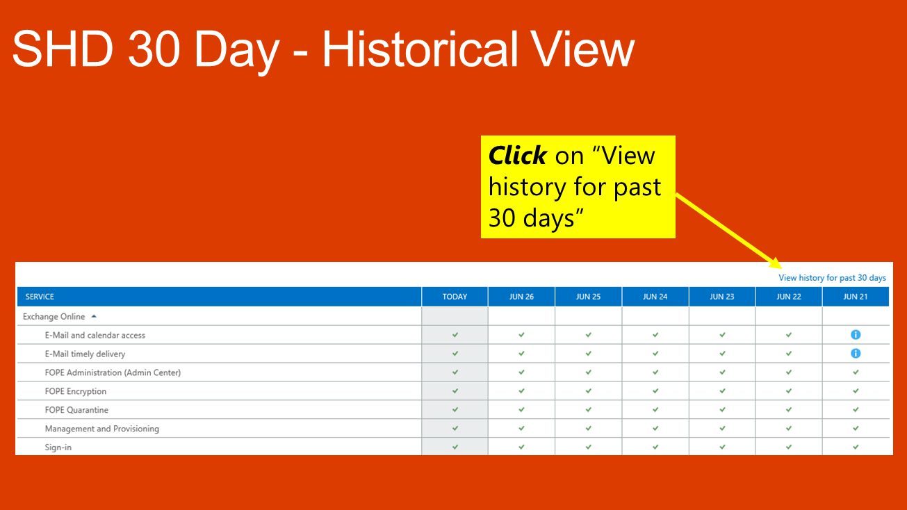 Click on View history for past 30 days