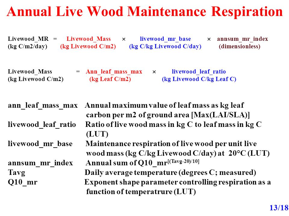 Annual Live Wood Maintenance Respiration 13/18 Livewood_MR = Livewood_Mass  livewood_mr_base  annsum_mr_index (kg C/m2/day) (kg Livewood C/m2) (kg C/kg Livewood C/day) (dimensionless) Livewood_Mass = Ann_leaf_mass_max  livewood_leaf_ratio (kg Livewood C/m2) (kg Leaf C/m2) (kg Livewood C/kg Leaf C) ann_leaf_mass_max Annual maximum value of leaf mass as kg leaf carbon per m2 of ground area [Max(LAI/SLA)] livewood_leaf_ratio Ratio of live wood mass in kg C to leaf mass in kg C (LUT) livewood_mr_base Maintenance respiration of live wood per unit live wood mass (kg C/kg Livewood C/day) at 20°C (LUT) annsum_mr_index Annual sum of Q10_mr [(Tavg-20)/10] Tavg Daily average temperature (degrees C; measured) Q10_mr Exponent shape parameter controlling respiration as a function of temperatrure (LUT)