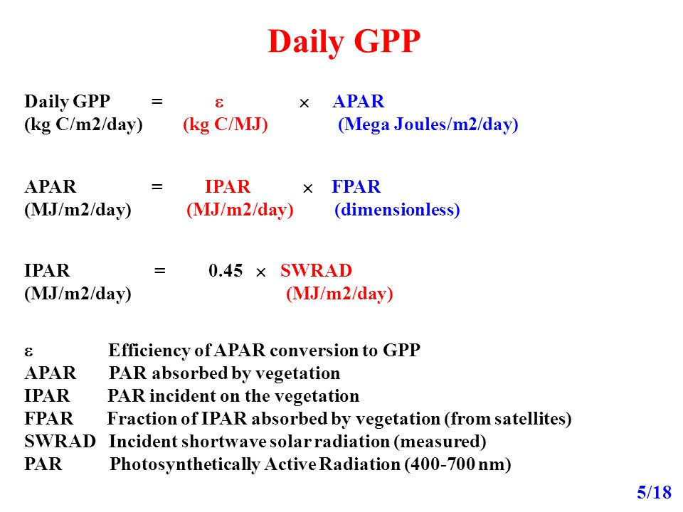 Daily GPP 5/18 Daily GPP =   APAR (kg C/m2/day) (kg C/MJ) (Mega Joules/m2/day) APAR = IPAR  FPAR (MJ/m2/day) (MJ/m2/day) (dimensionless)  Efficiency of APAR conversion to GPP APAR PAR absorbed by vegetation IPAR PAR incident on the vegetation FPAR Fraction of IPAR absorbed by vegetation (from satellites) SWRAD Incident shortwave solar radiation (measured) PAR Photosynthetically Active Radiation (400-700 nm) IPAR = 0.45  SWRAD (MJ/m2/day)