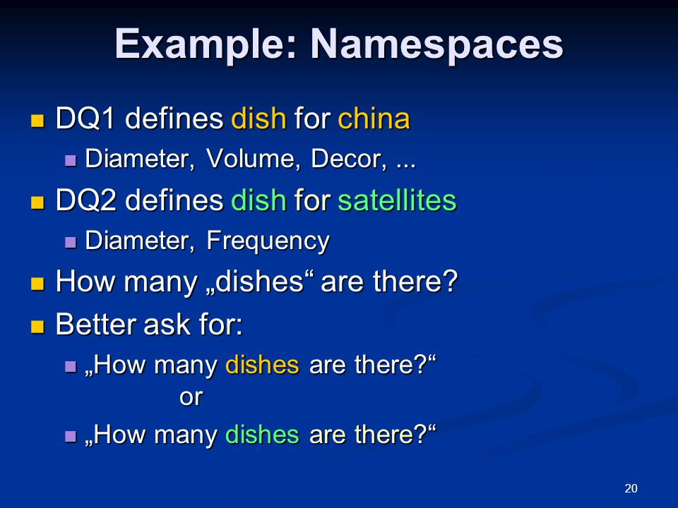 20 Example: Namespaces DQ1 defines dish for china DQ1 defines dish for china Diameter, Volume, Decor,...