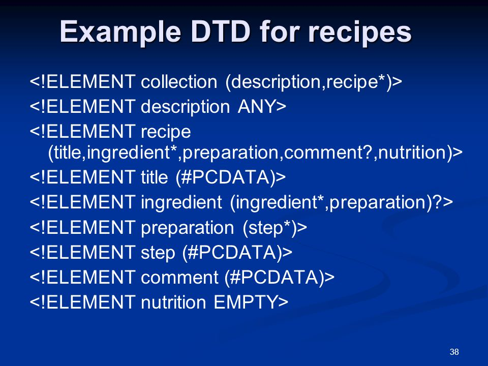 38 Example DTD for recipes
