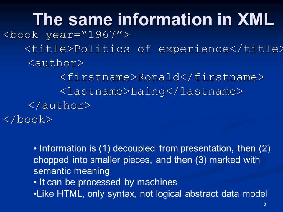 5 The same information in XML The same information in XML Politics of experience Politics of experience Ronald Ronald Laing Laing Elements Information is (1) decoupled from presentation, then (2) chopped into smaller pieces, and then (3) marked with semantic meaning It can be processed by machines Like HTML, only syntax, not logical abstract data model