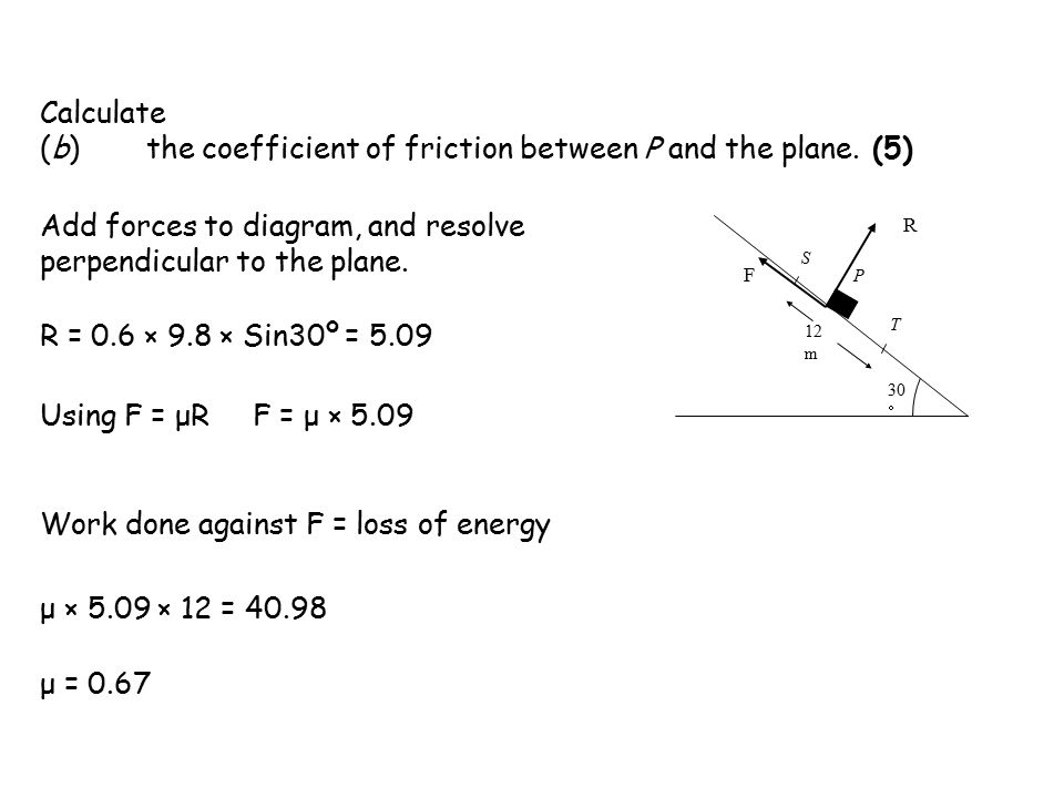 Calculate (b)the coefficient of friction between P and the plane.