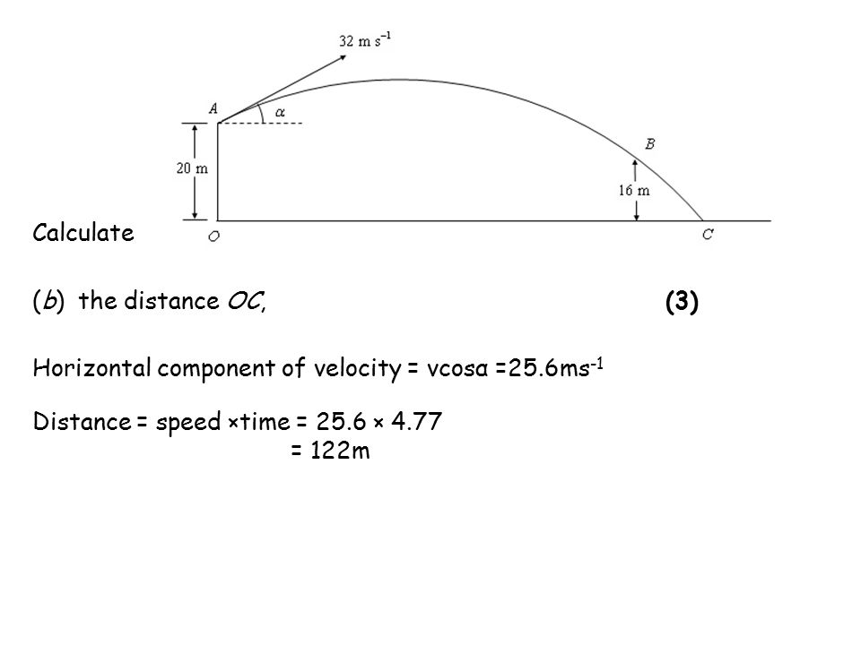 (b) the distance OC, (3) Horizontal component of velocity = vcosα =25.6ms -1 Distance = speed ×time = 25.6 × 4.77 = 122m Calculate
