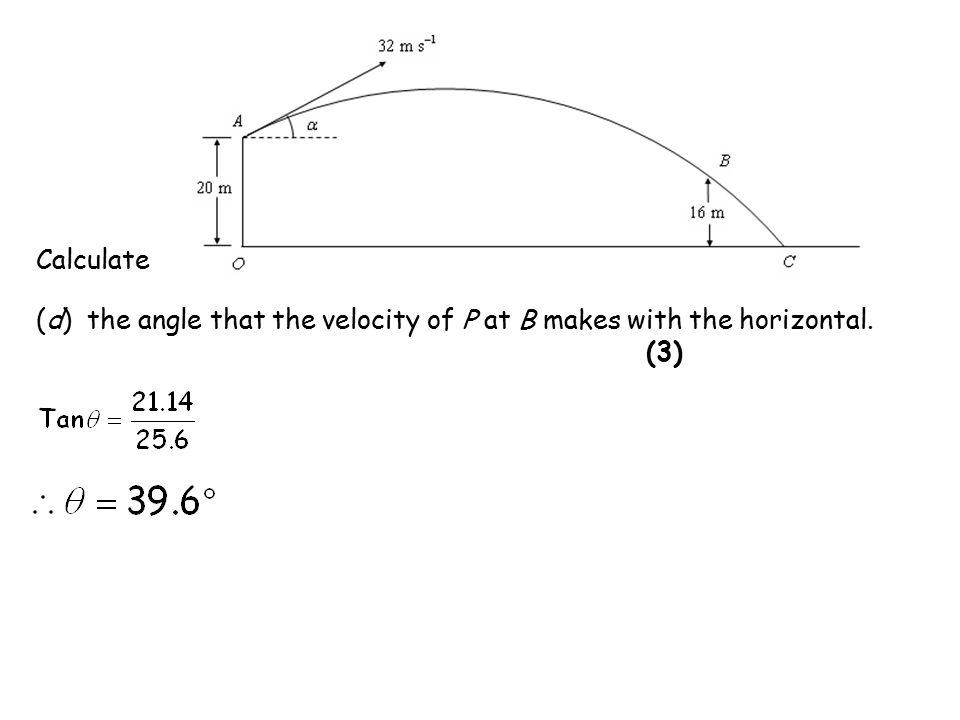 (d) the angle that the velocity of P at B makes with the horizontal. (3) Calculate