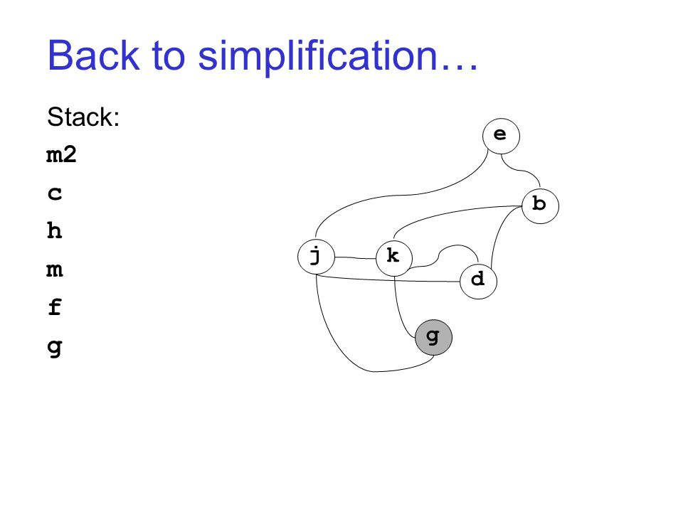 Back to simplification… Stack: m2 c h m f g j k g d b e