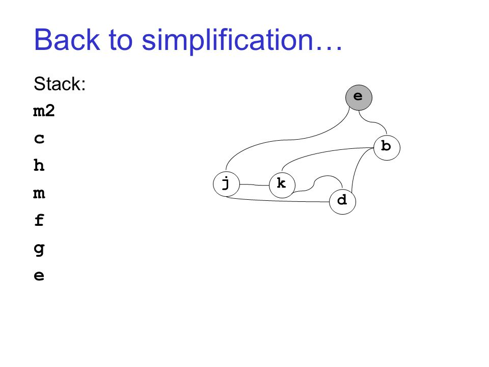Back to simplification… Stack: m2 c h m f g e j k d b e