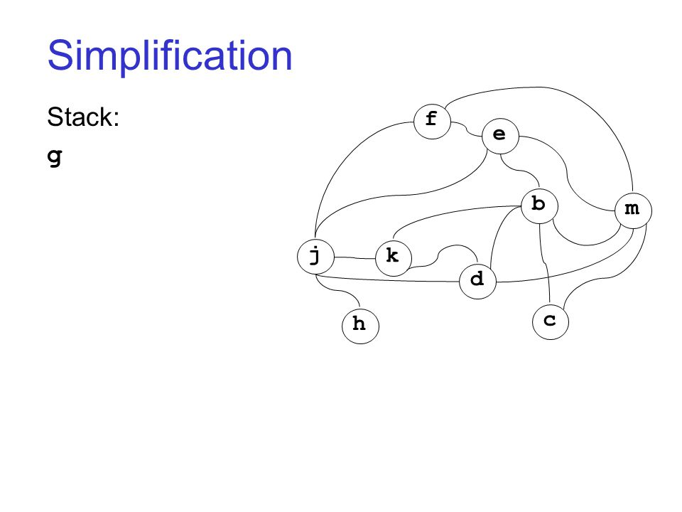 Simplification Stack: g j k h d c b m f e