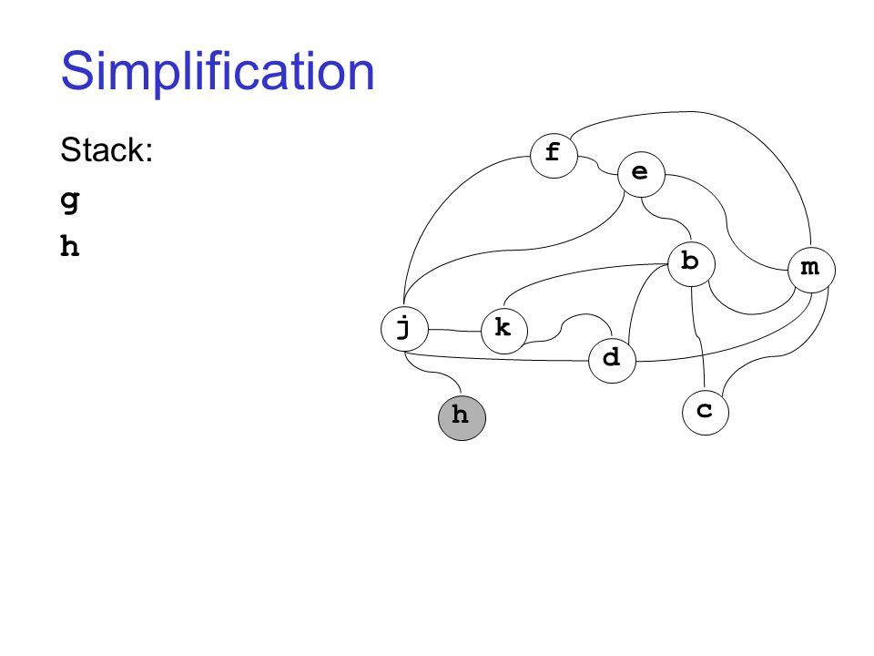 Simplification Stack: g h j k h d c b m f e