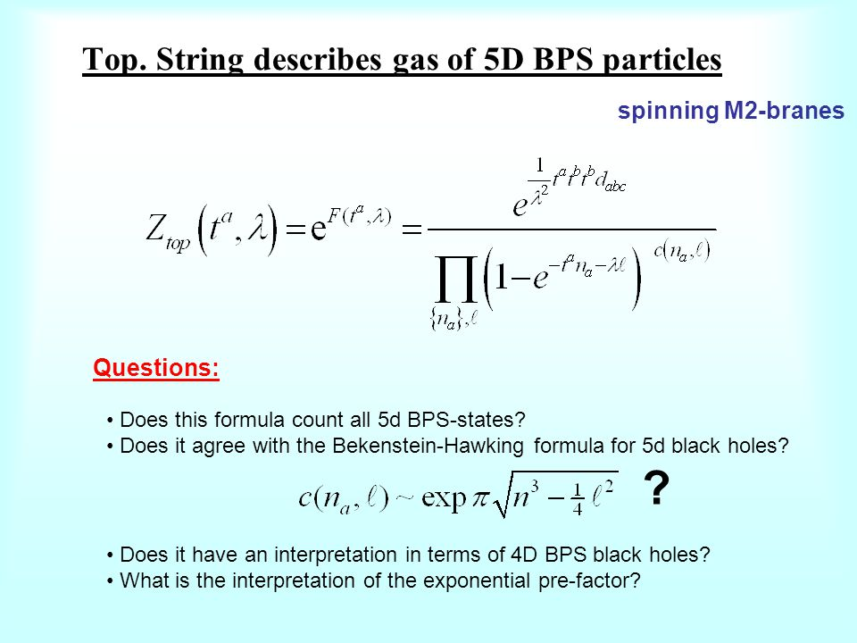Top. String describes gas of 5D BPS particles Questions: Does this formula count all 5d BPS-states.