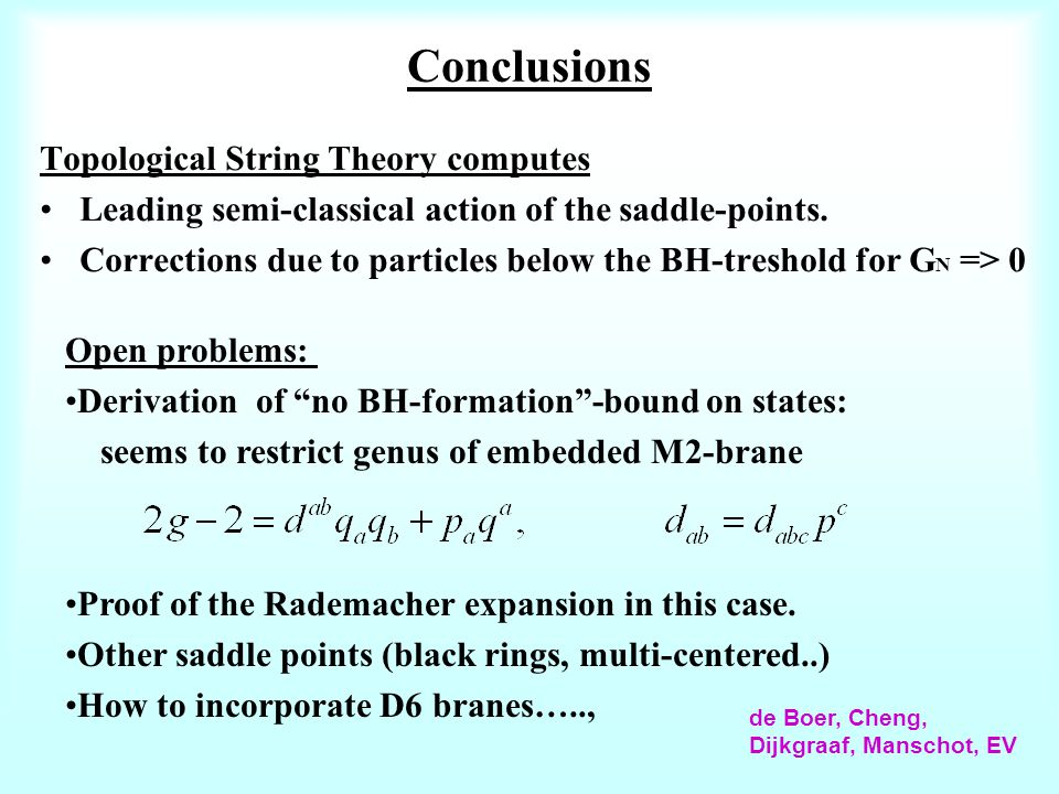 Conclusions Topological String Theory computes Leading semi-classical action of the saddle-points.