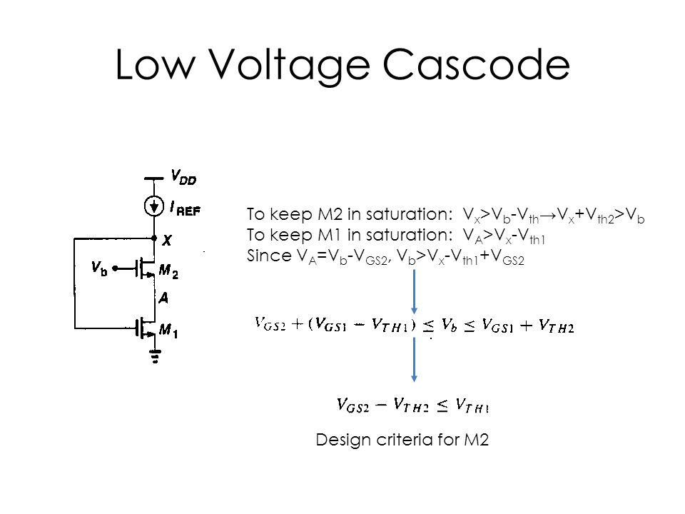 Low Voltage Cascode To keep M2 in saturation: V x >V b -V th →V x +V th2 >V b To keep M1 in saturation: V A >V x -V th1 Since V A =V b -V GS2, V b >V x -V th1 +V GS2 Design criteria for M2