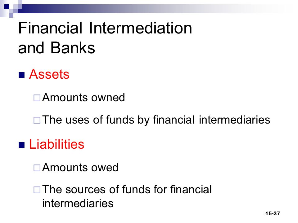 Financial Intermediation and Banks Assets  Amounts owned  The uses of funds by financial intermediaries Liabilities  Amounts owed  The sources of funds for financial intermediaries 15-37