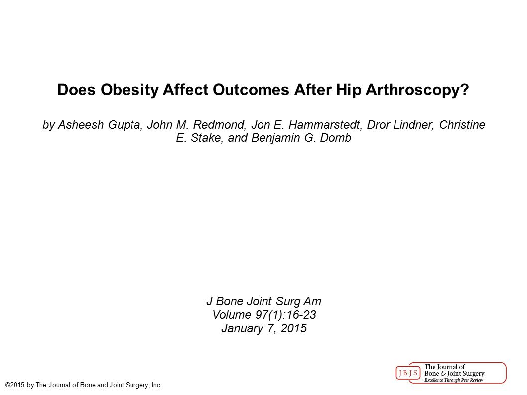 Does Obesity Affect Outcomes After Hip Arthroscopy.