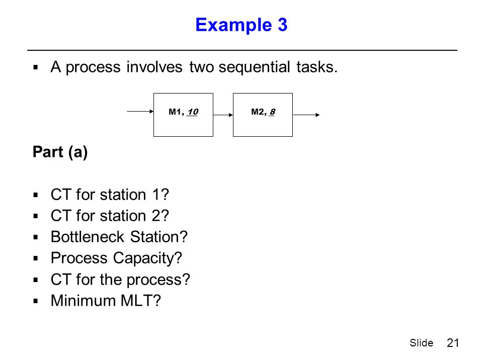 21 Slide Example 3  A process involves two sequential tasks.