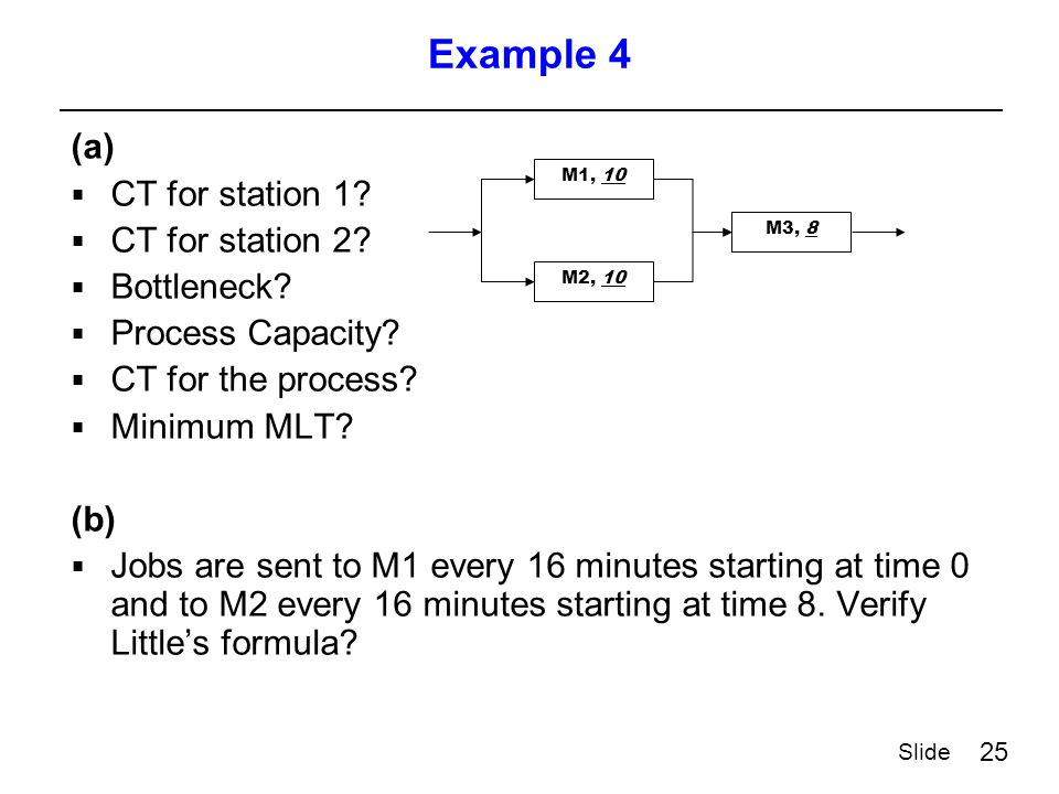 25 Slide Example 4 (a)  CT for station 1.  CT for station 2.
