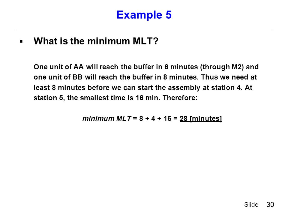 30 Slide Example 5  What is the minimum MLT.