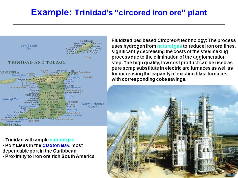 5 Slide Example: Trinidad's circored iron ore plant Fluidized bed based Circored® technology: The process uses hydrogen from natural gas to reduce iron ore fines, significantly decreasing the costs of the steelmaking process due to the elimination of the agglomeration step.