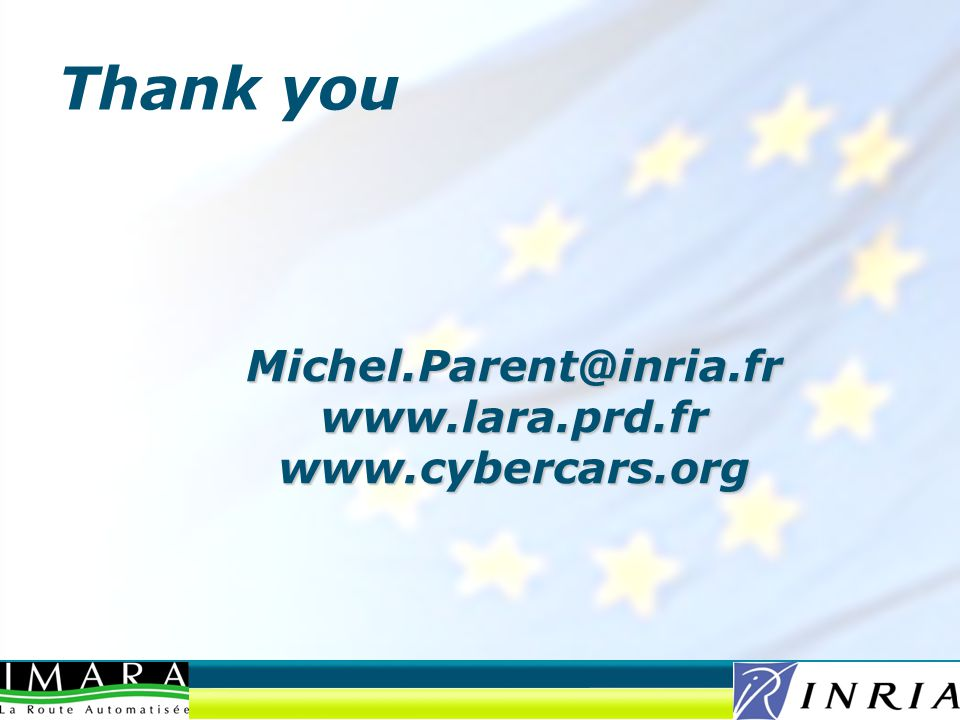 Michel.Parent@inria.fr www.lara.prd.fr www.cybercars.org Thank you